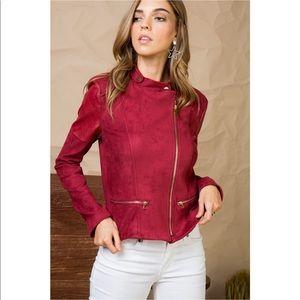 Burgundy Suede Zipper Front Moto Jacket